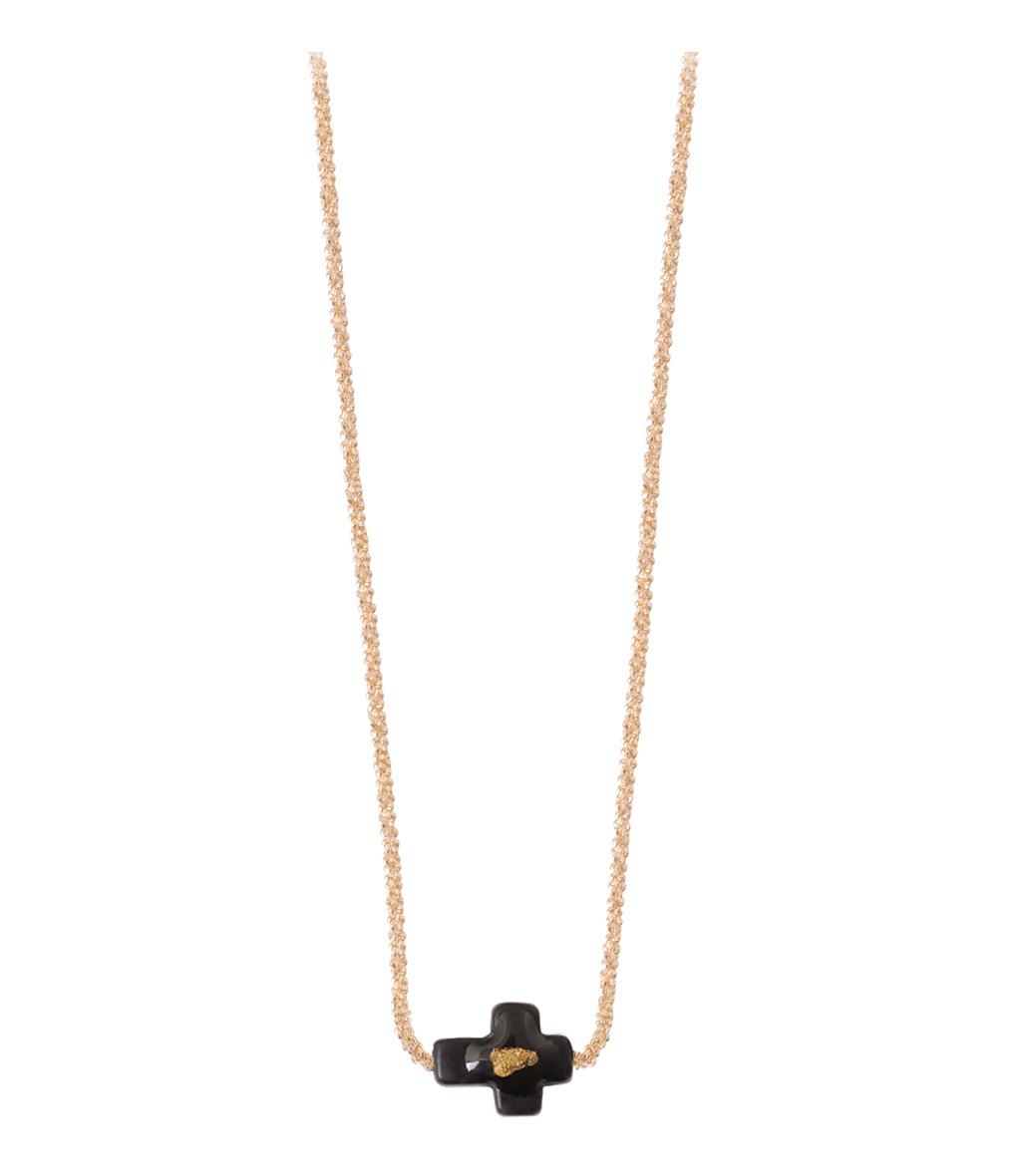 Collier Chaîne Vermeil Croix Onyx