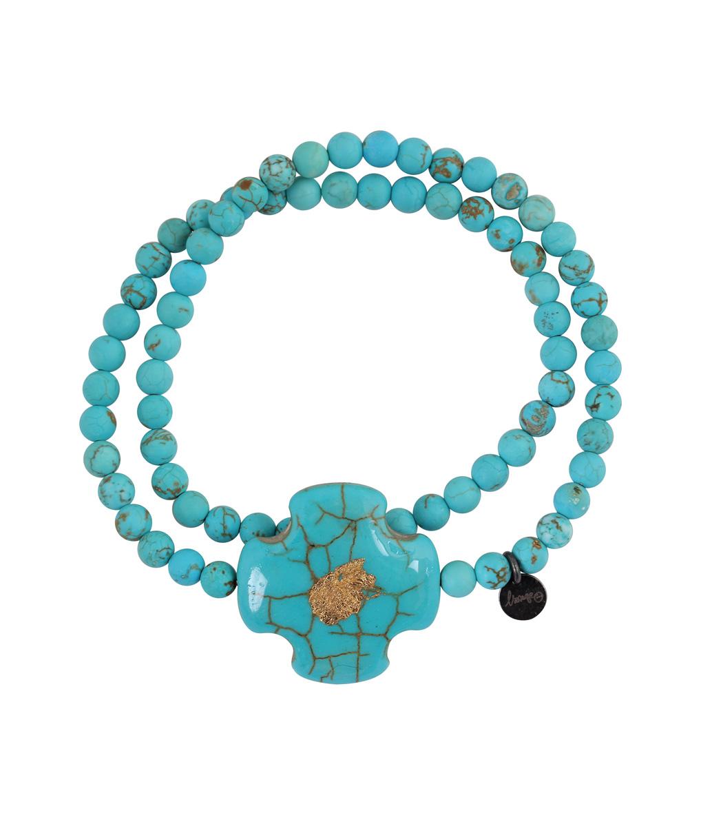 Ras de Cou Croix Perles Turquoise
