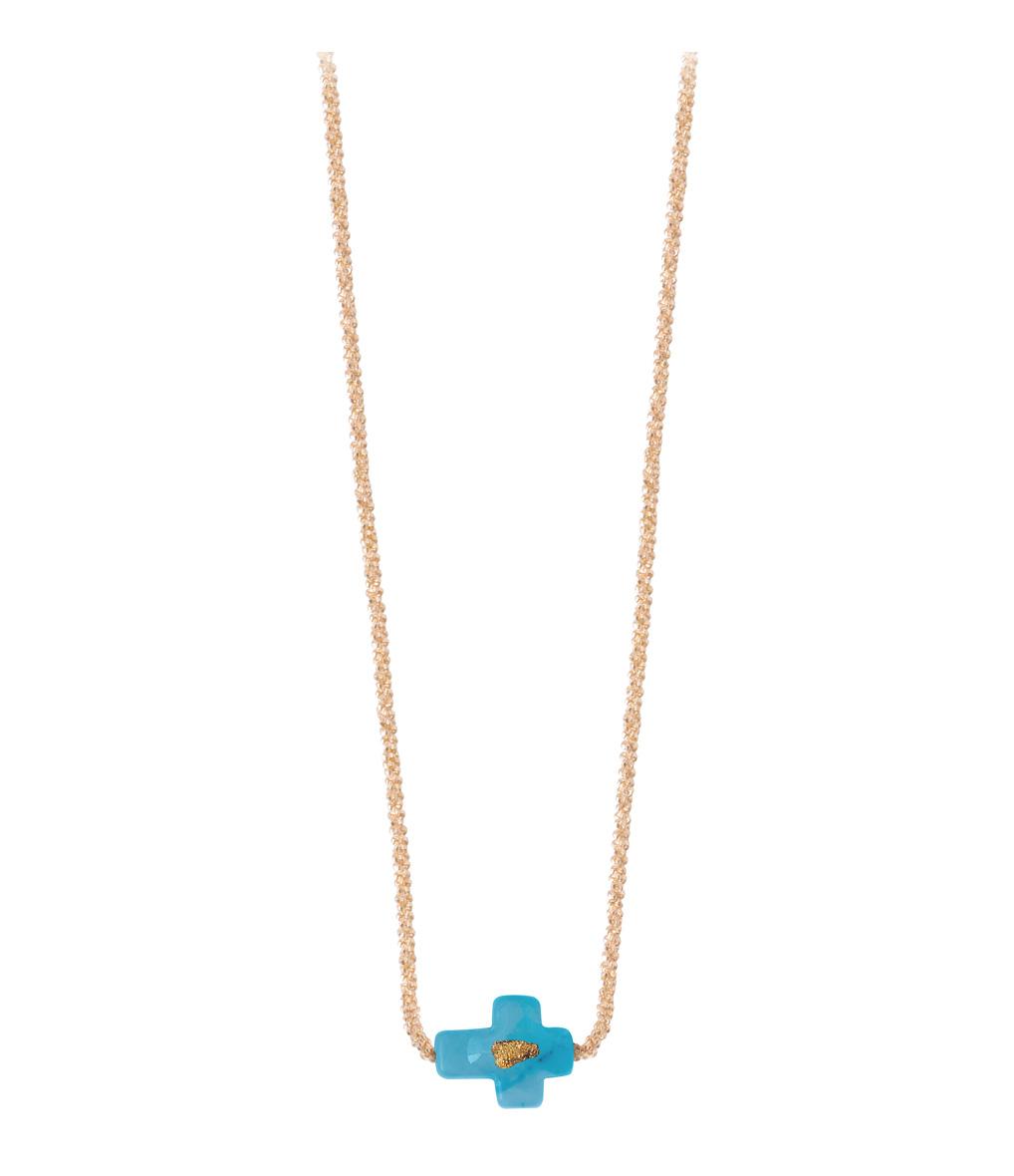 Collier Chaîne Vermeil Croix Turquoise