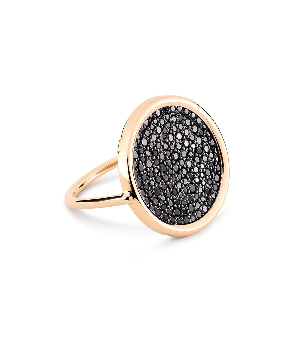 Bague Mini Ever Large Disc Diamants Noir
