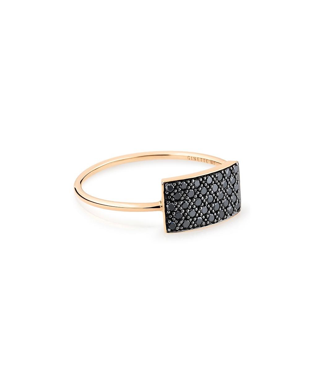 Bague Mini Ever Rectangle Diamants Noir