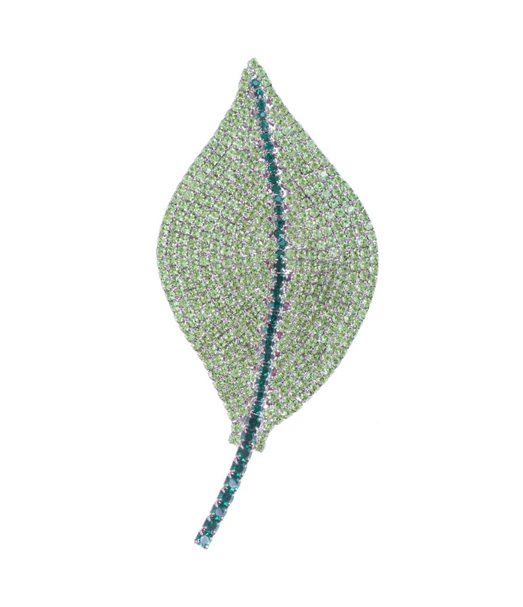 Broche Grande Feuille Vert