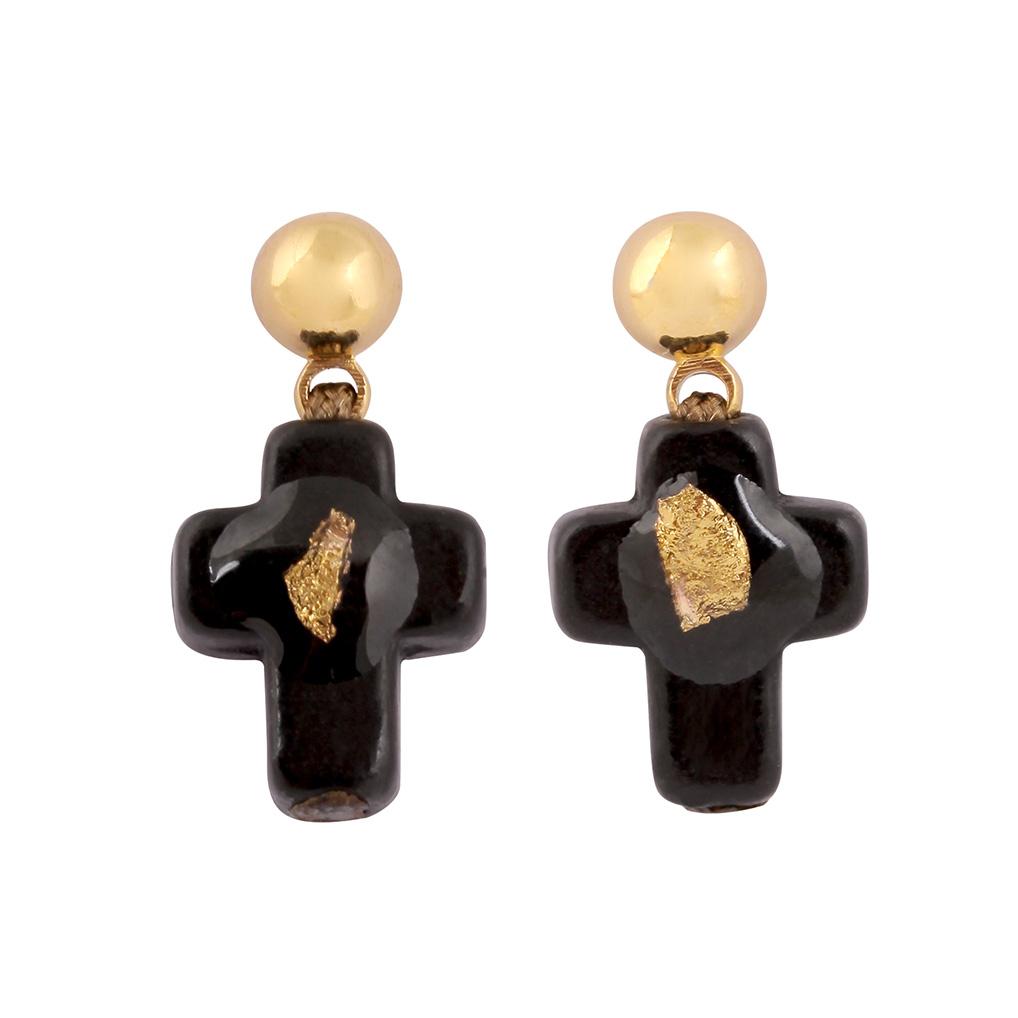 Boucles d'oreilles Croix Onyx