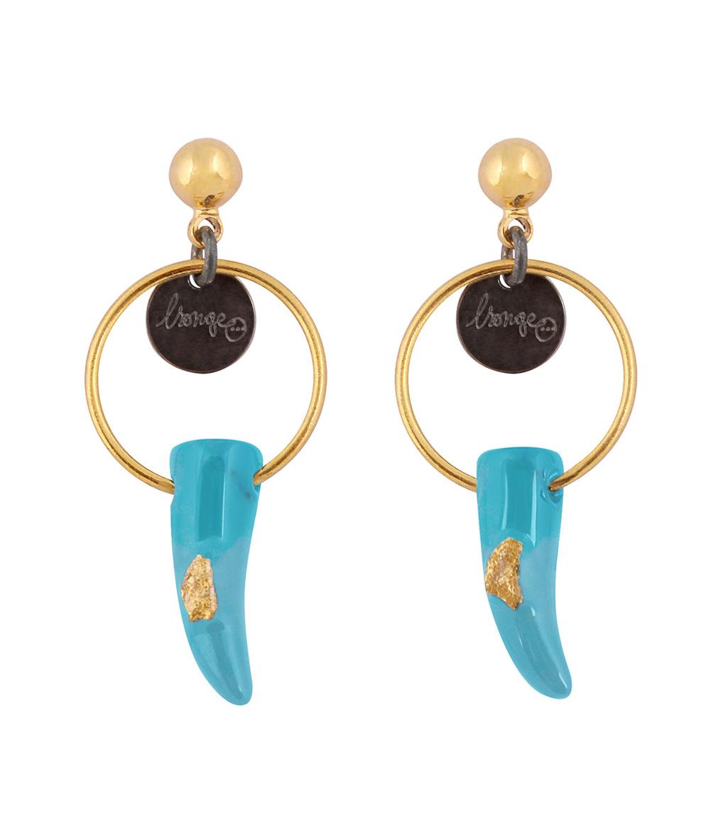 Boucles d'oreilles Corne Anneau Turquoise