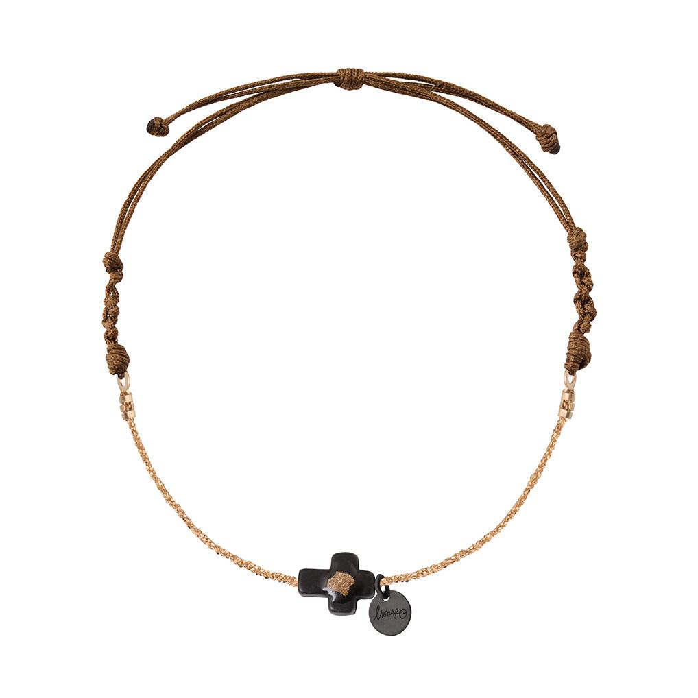 Bracelet Chaîne/Cordon Croix Onyx