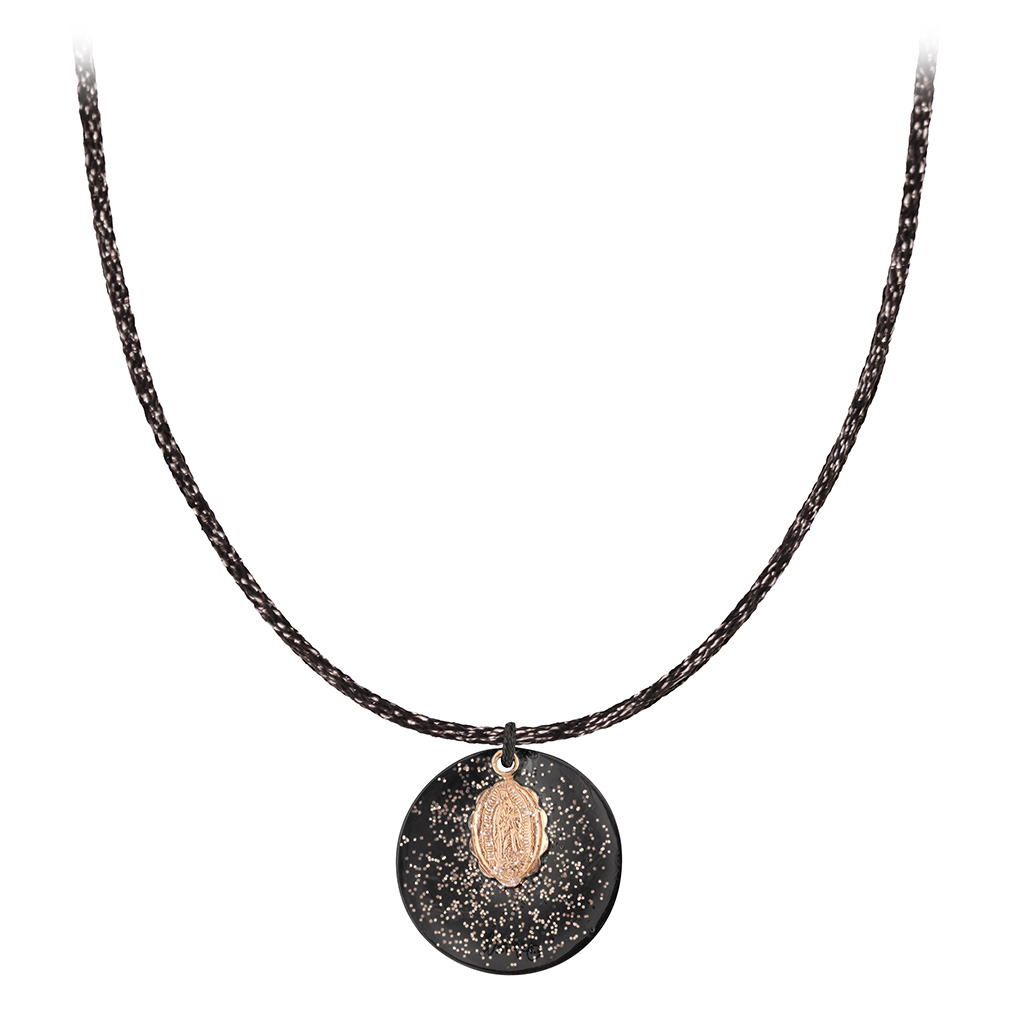 Collier Cordon Noir Médaille XL
