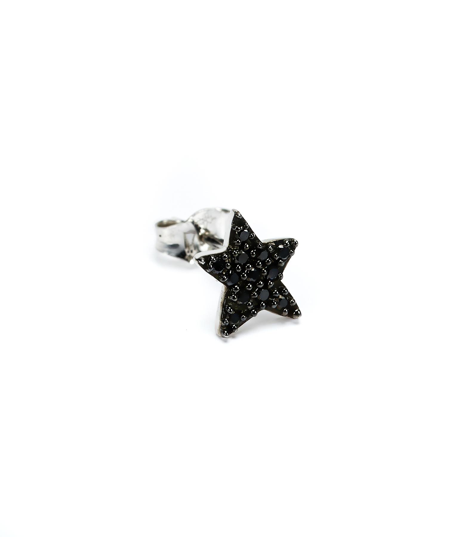 Boucle d'oreille Etoile Pavée Diamants noirs 18K (vendue à l'unité)