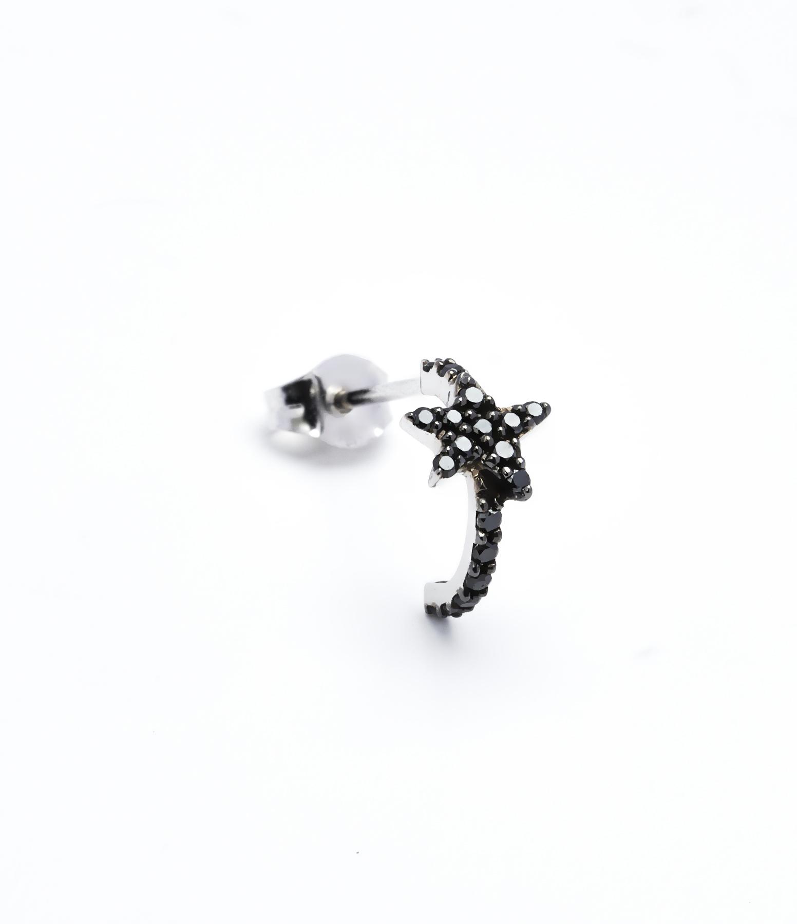 Mini Créole Star 18K Diamants noirs (vendue à l'unité)